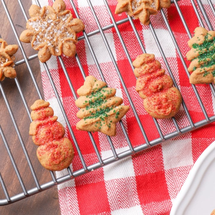 Gingerbread Spritz Cookies on Cooling Rack Recipe from A Kitchen Addiction