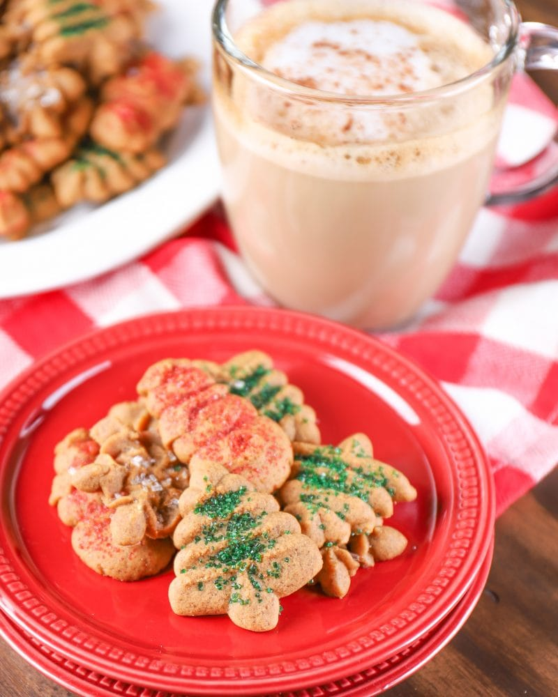 Gingerbread Spritz Cookies Recipe with an espresso drink