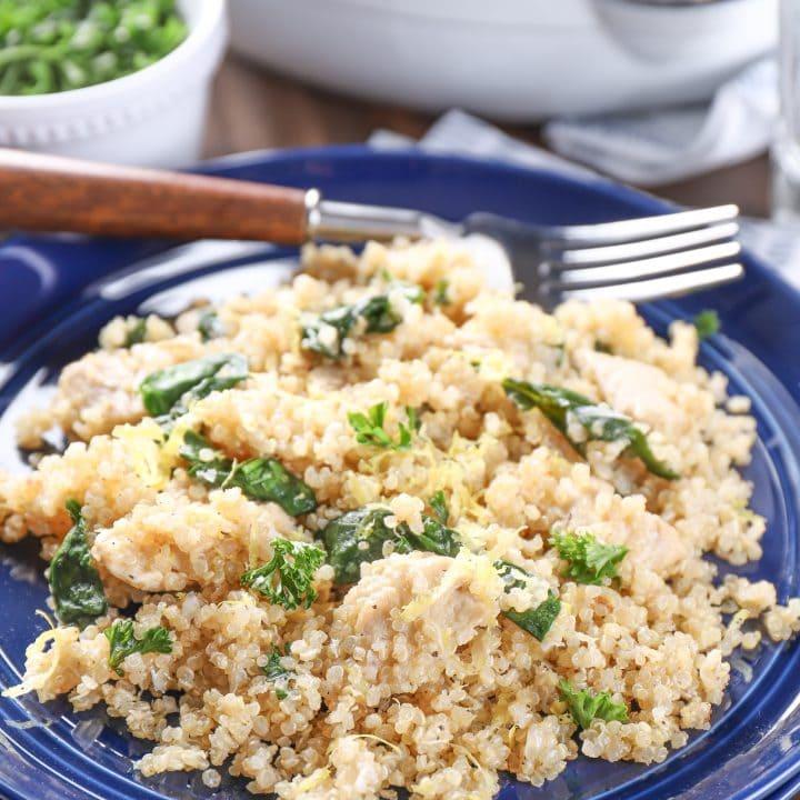 Lightened Up Lemon Parmesan Chicken Quinoa Skillet Recipe plated