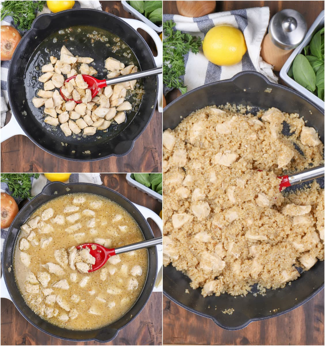 Steps for Making Chicken Quinoa Skillet