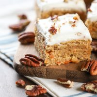 Carrot Cake Blondies (Whole Wheat)