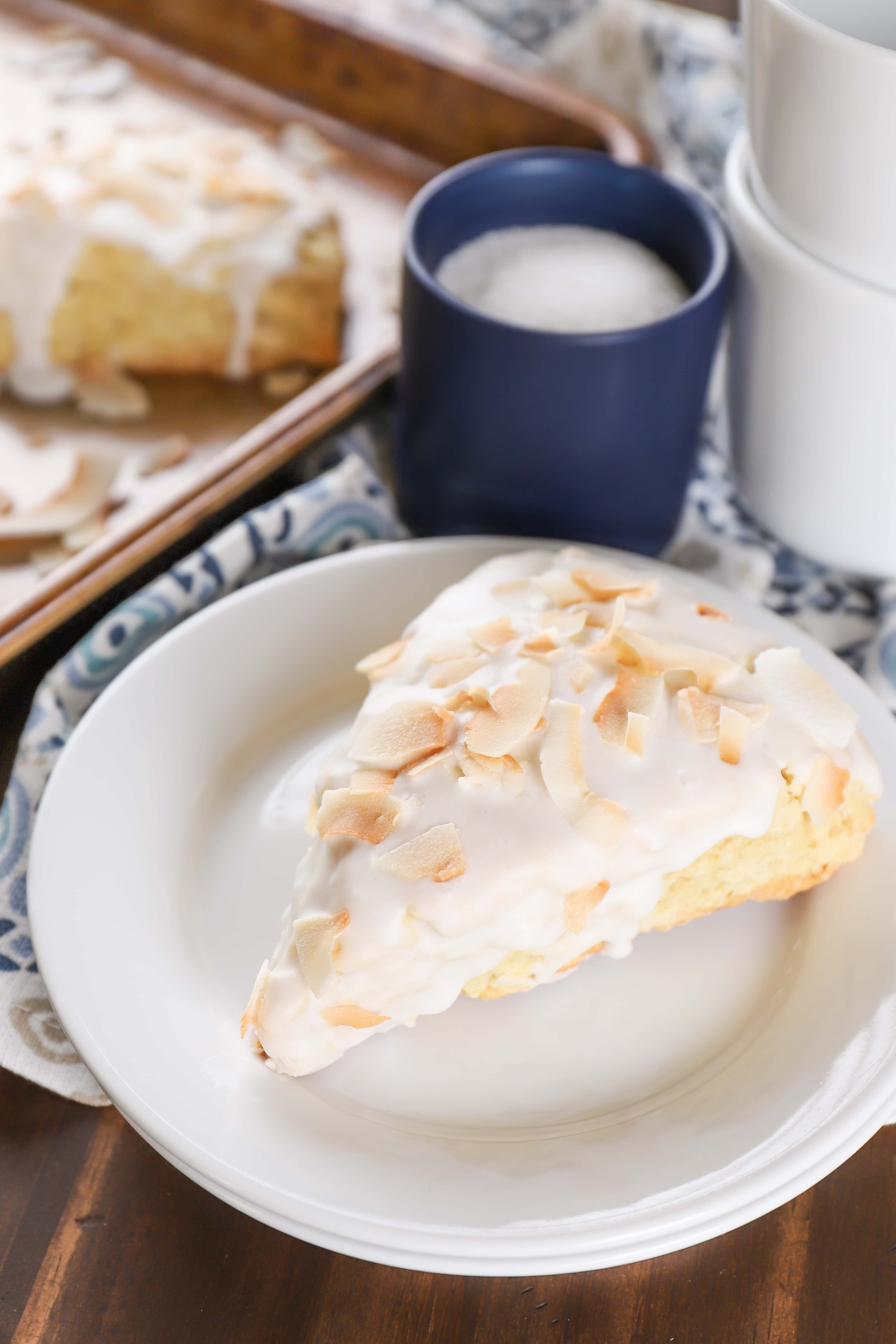 Coconut Cream Scones with Coconut Glaze Recipe from A Kitchen Addiction