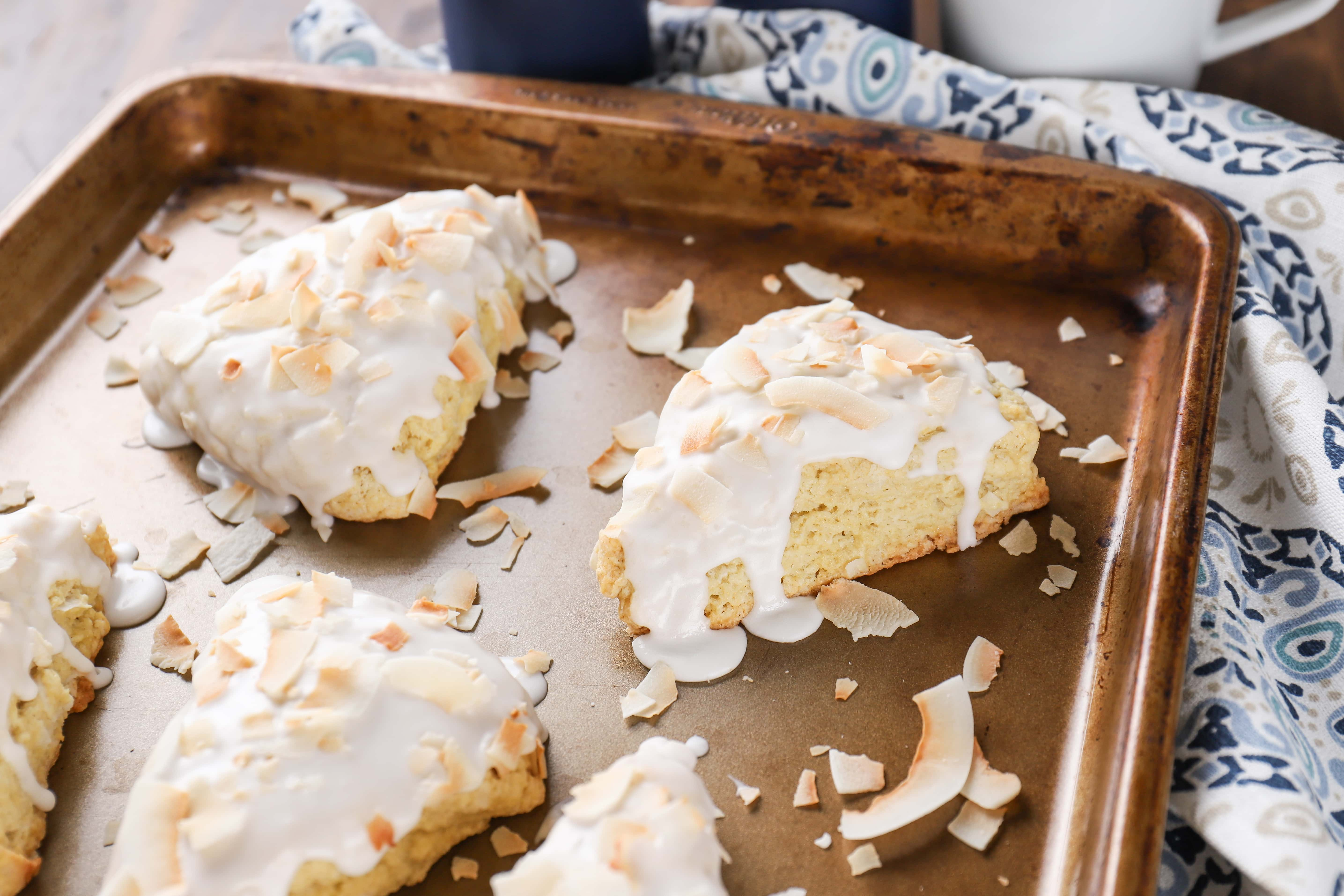 Easy Recipe for Coconut Cream Scones from A Kitchen Addiction