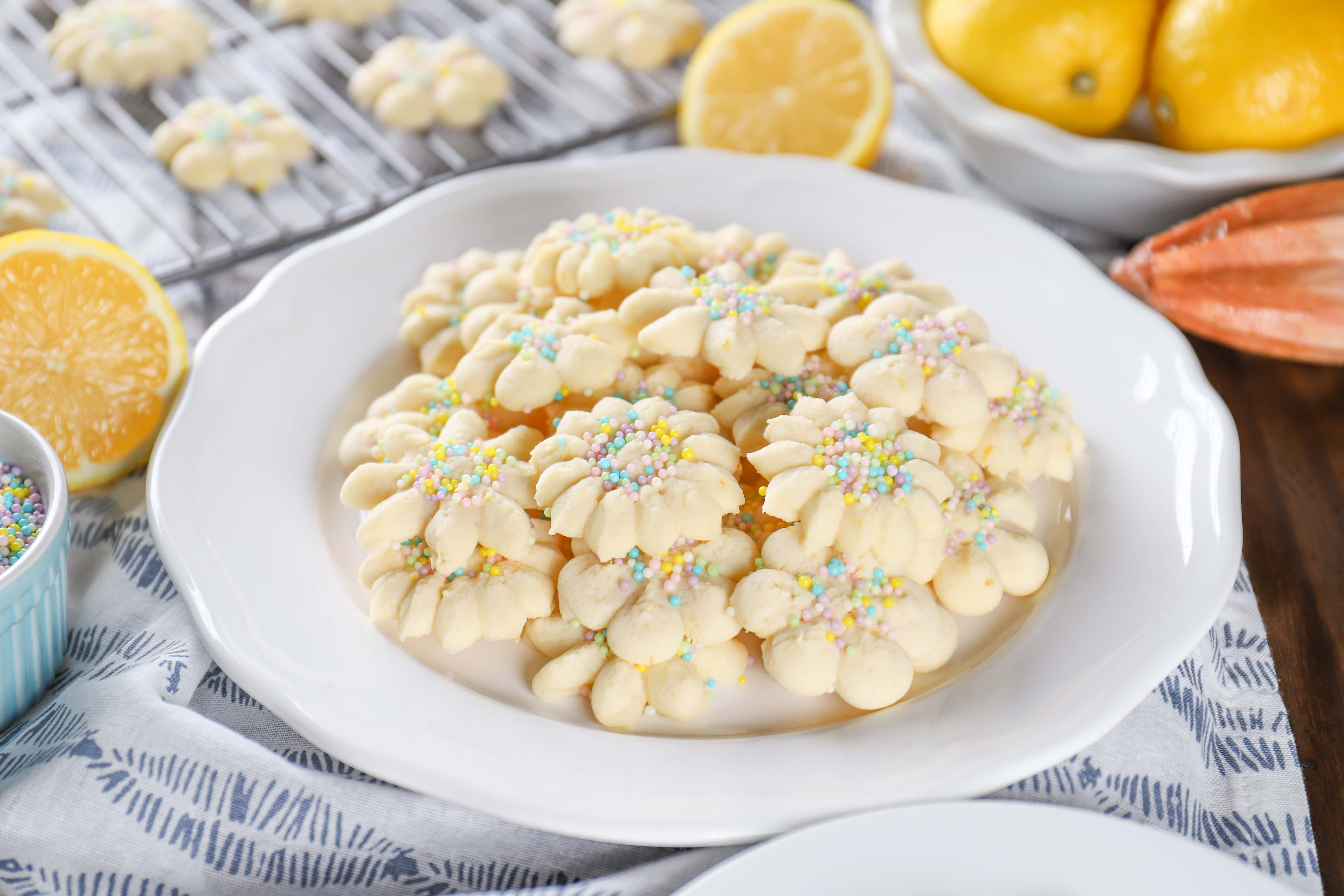 Easy Lemon Spritz Cookies Recipe from A Kitchen Addiction