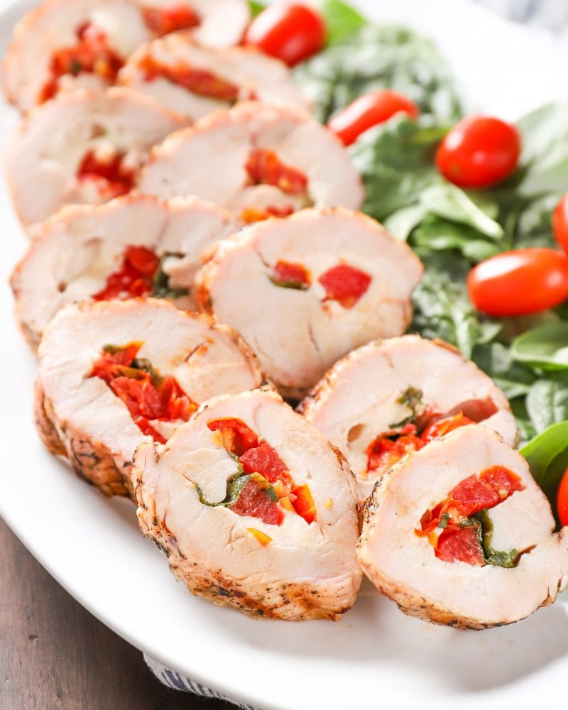 Balsamic Glazed Grilled Caprese Stuffed Turkey Tenderloin Recipe from A Kitchen Addiction