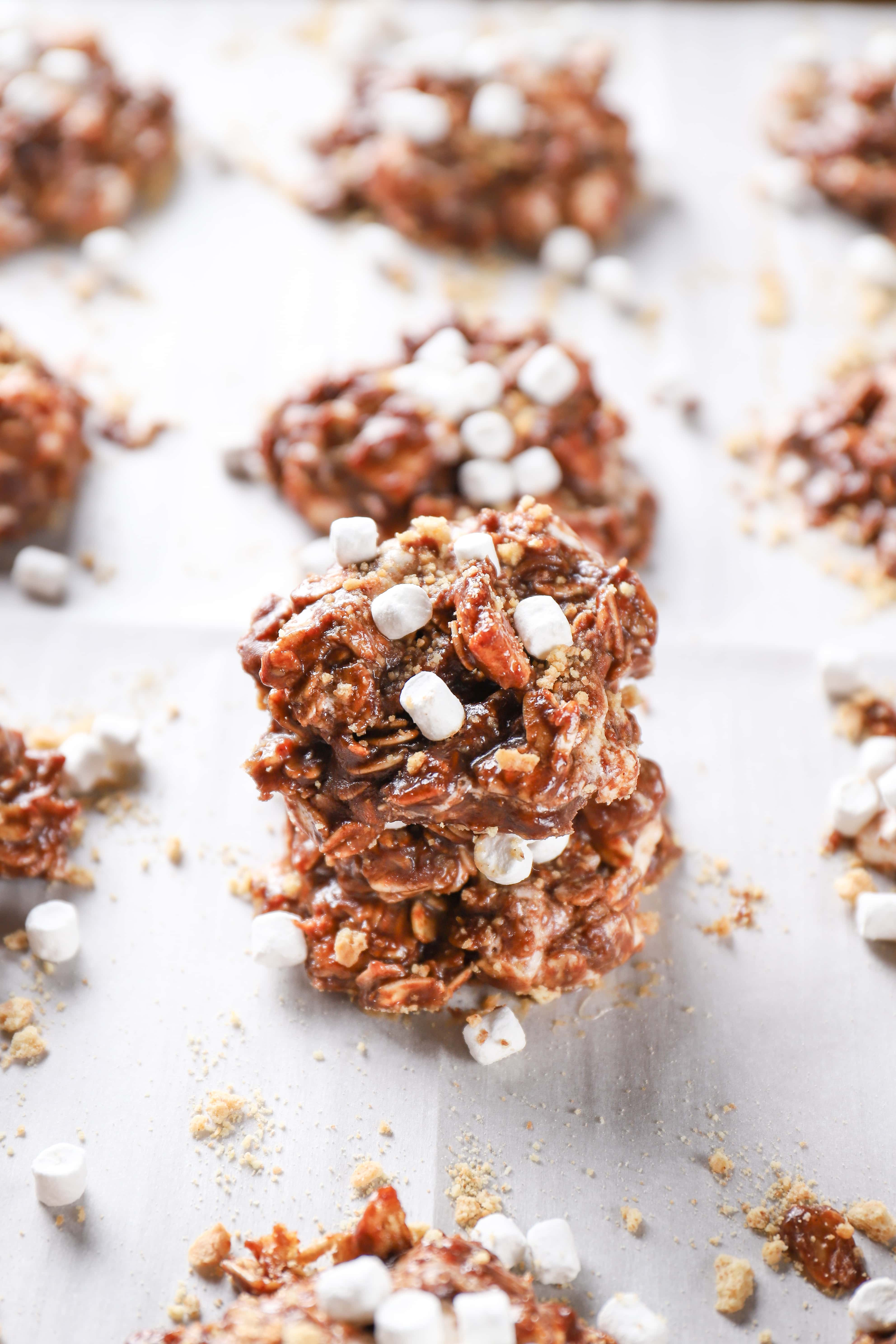 Stack of Easy Smores No Bake Cookies