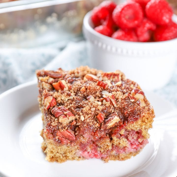 Raspberry Pecan Breakfast Cake Recipe from A Kitchen Addiction