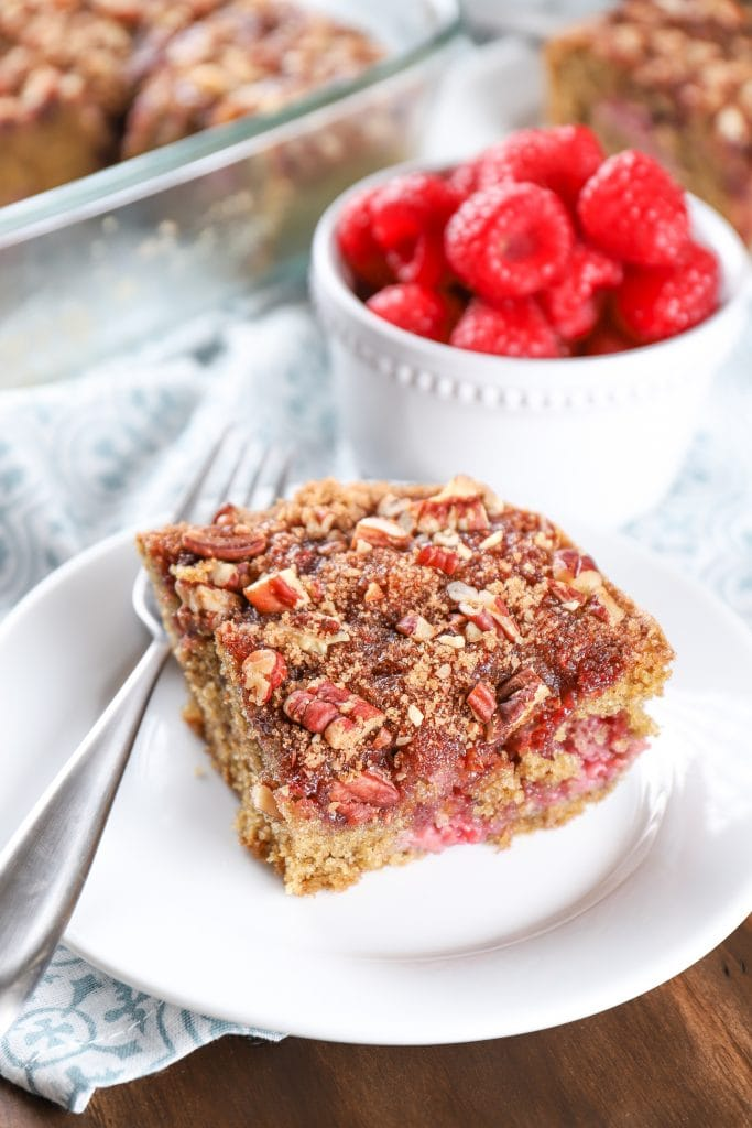 Slice of Raspberry Pecan Breakfast Cake