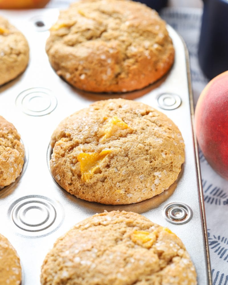 Bakery Style Peach Cardamom Muffins Recipe from A Kitchen Addiction