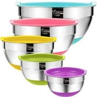 Nesting Mixing Bowls with Airtight Lids and Non-Slip Silicone Bottoms, Ideal for Mixing & Serving