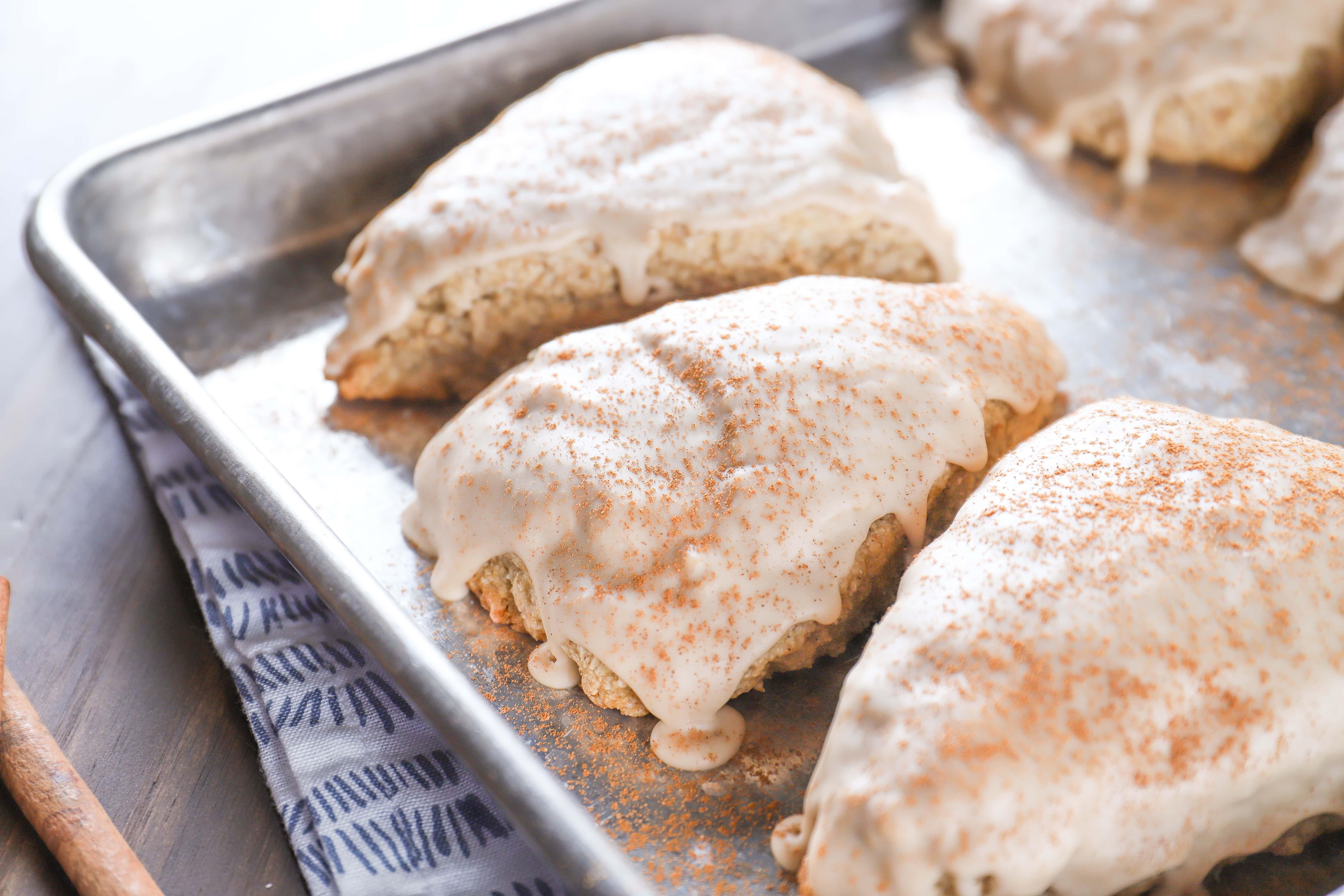 Glazed Maple Chai Scones on Baking Sheet