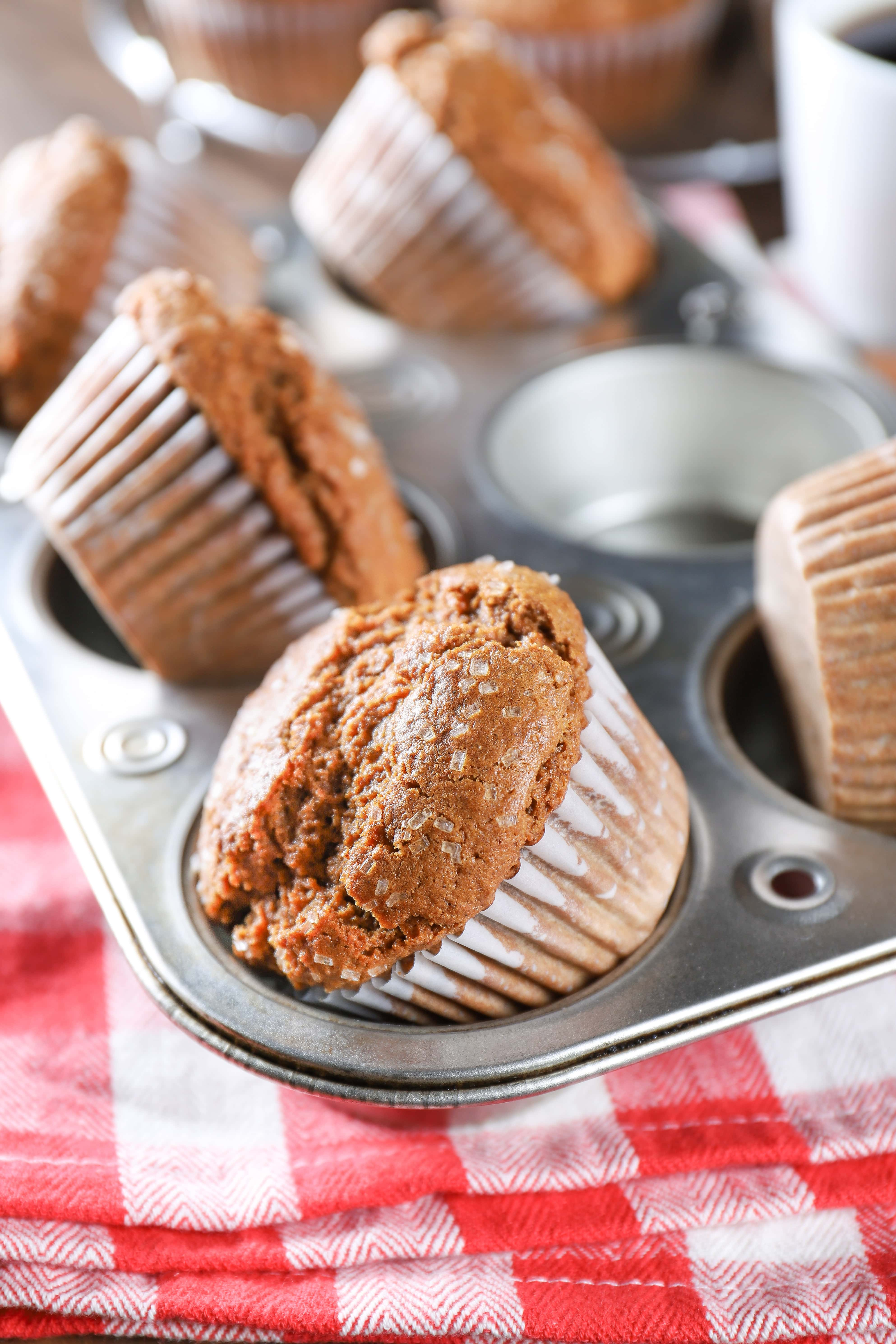 Muffins in cupcake liners in a muffin tin. Recipe from A Kitchen Addiction