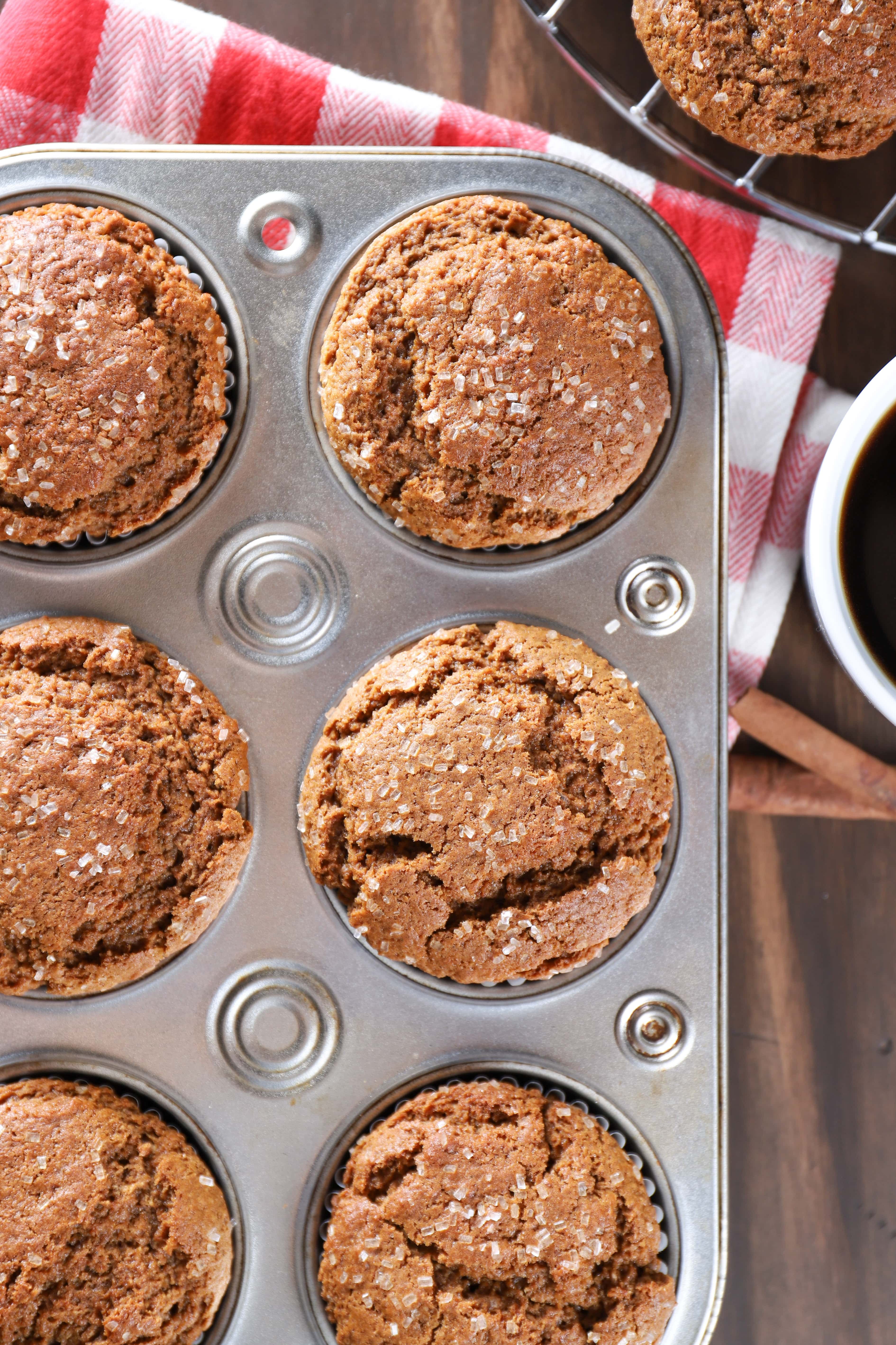 View of Bakery Style Gingerbread Muffins from above. Recipe from A Kitchen Addiction