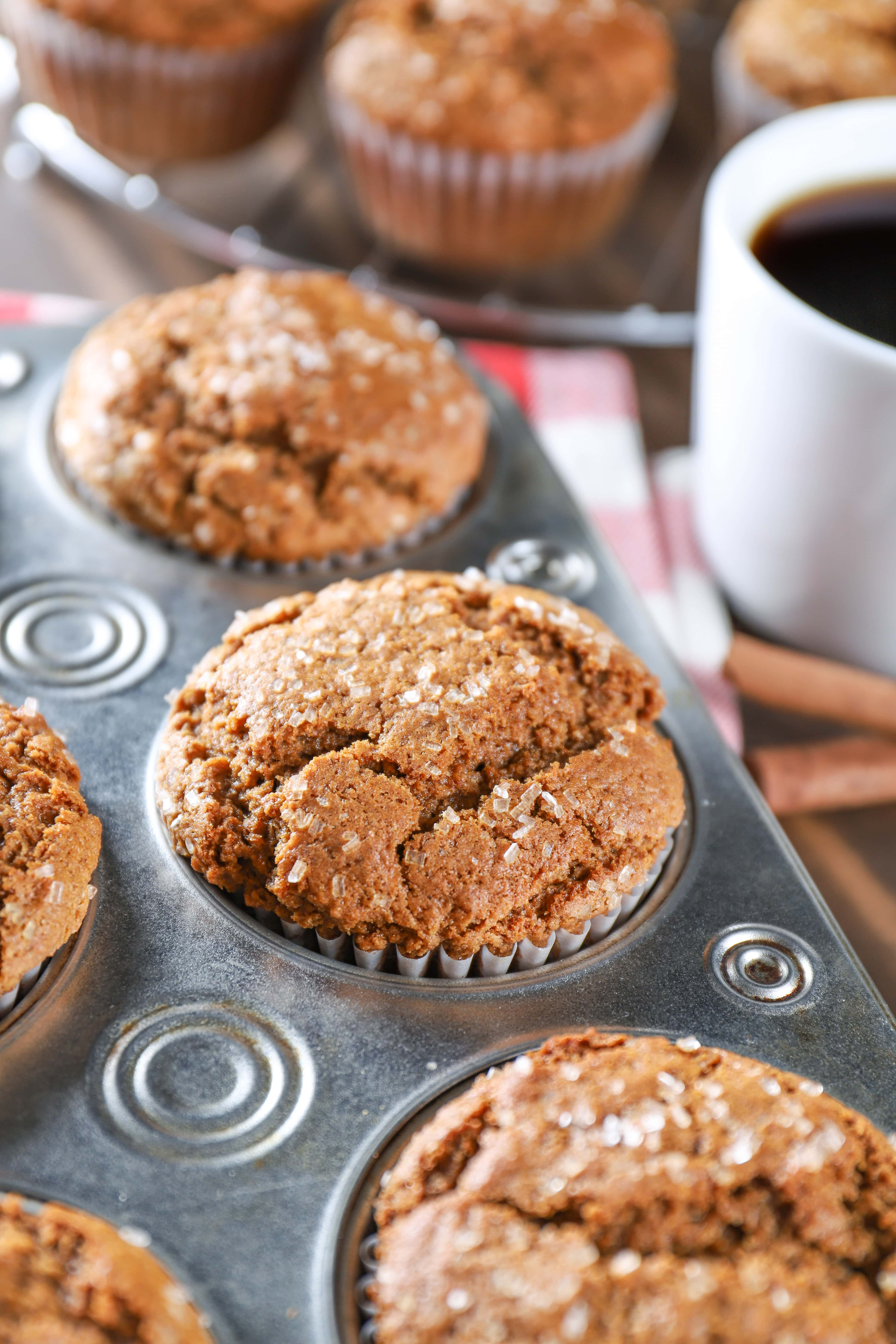 Bakery Style Gingerbread Muffins in muffin tin. Recipe from A Kitchen Addiction