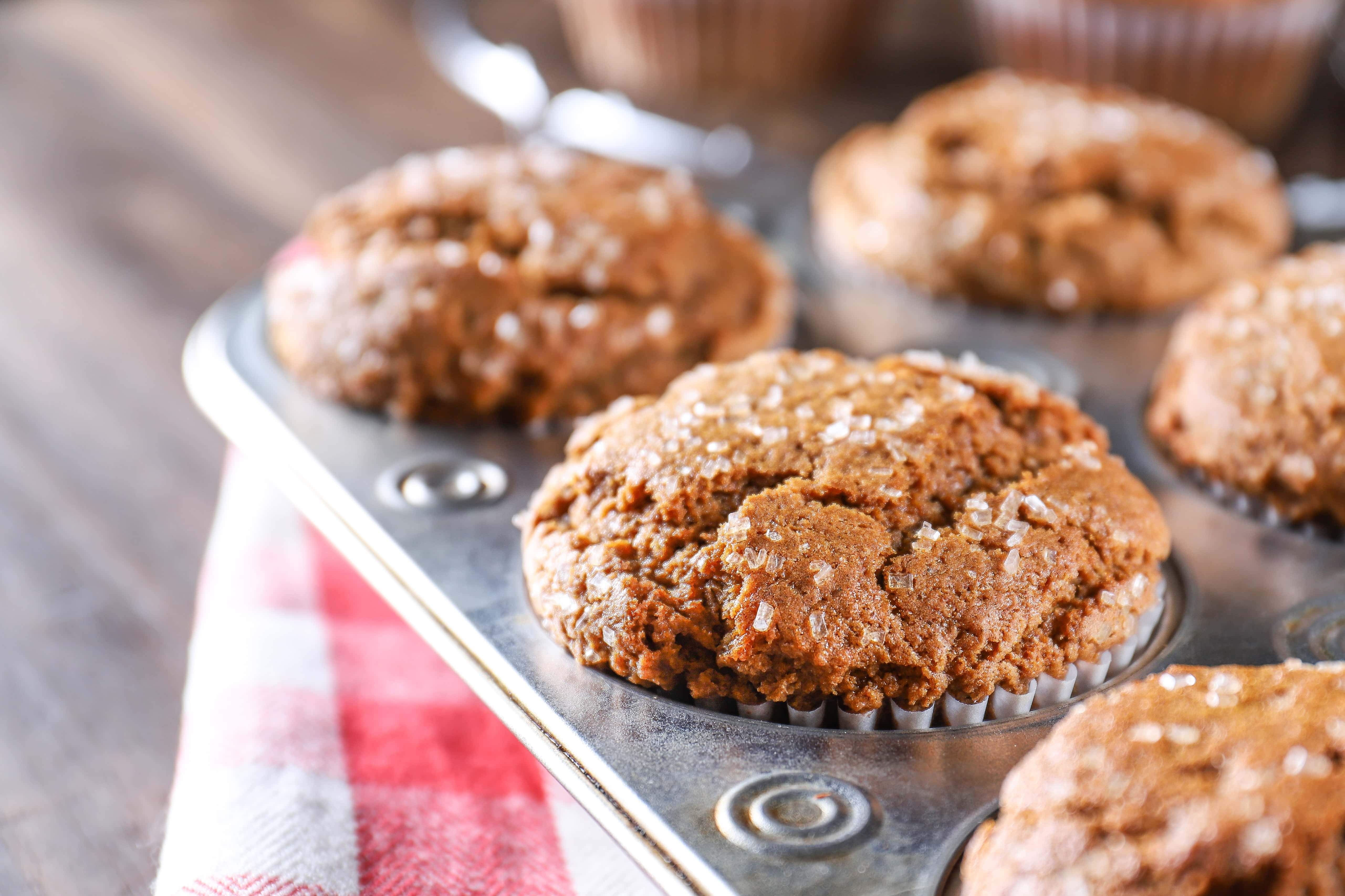 Bakery Style Gingerbread Muffins in a muffin tin