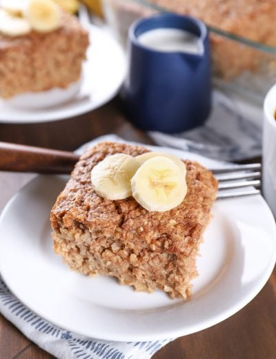 piece of almond butter banana bread baked oatmeal topped with banana slices
