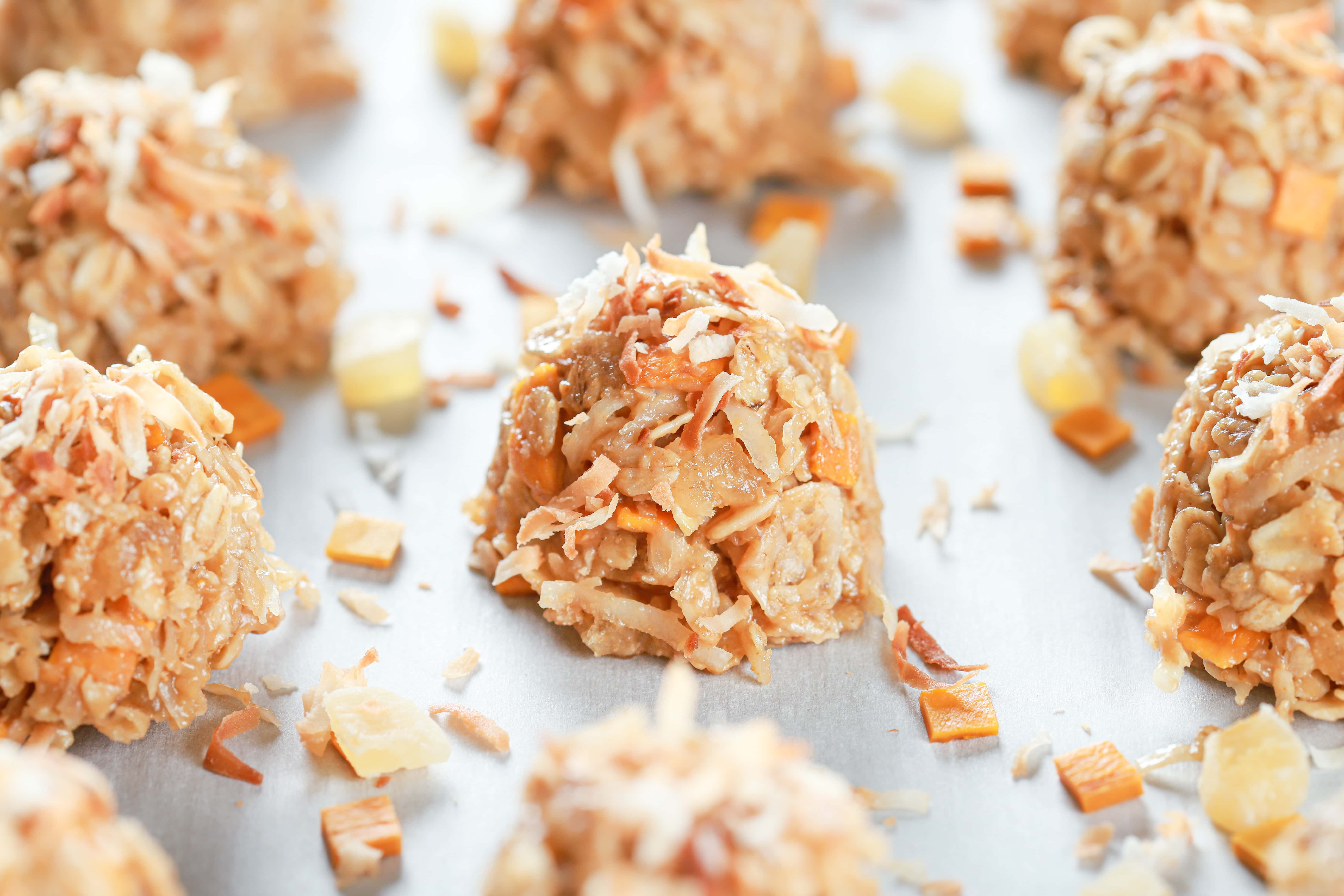 Up close view of a tropical no bake cookie filled with pineapple, mango, and coconut.
