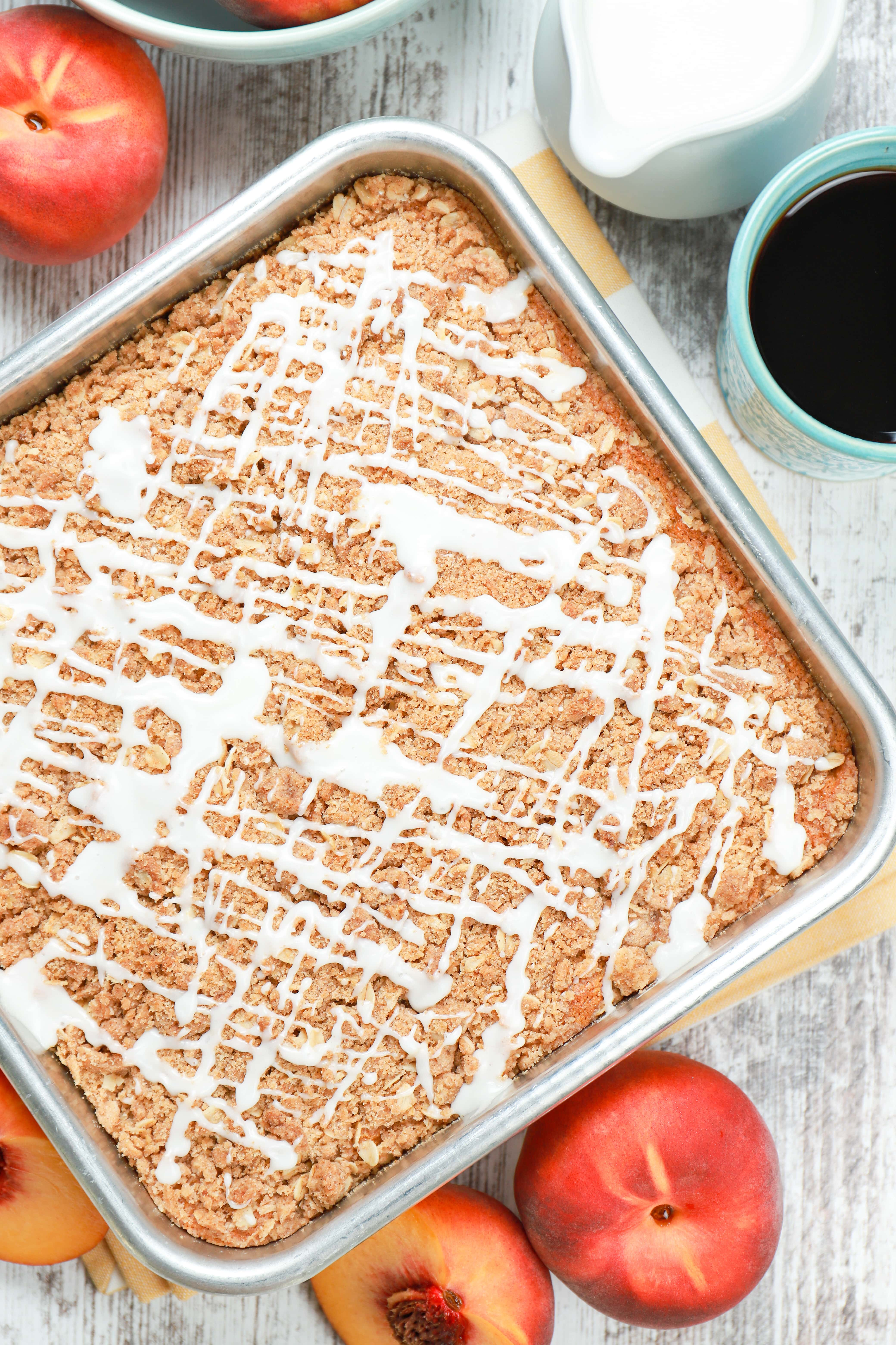 Overhead view of a pan of peach coffee cake.