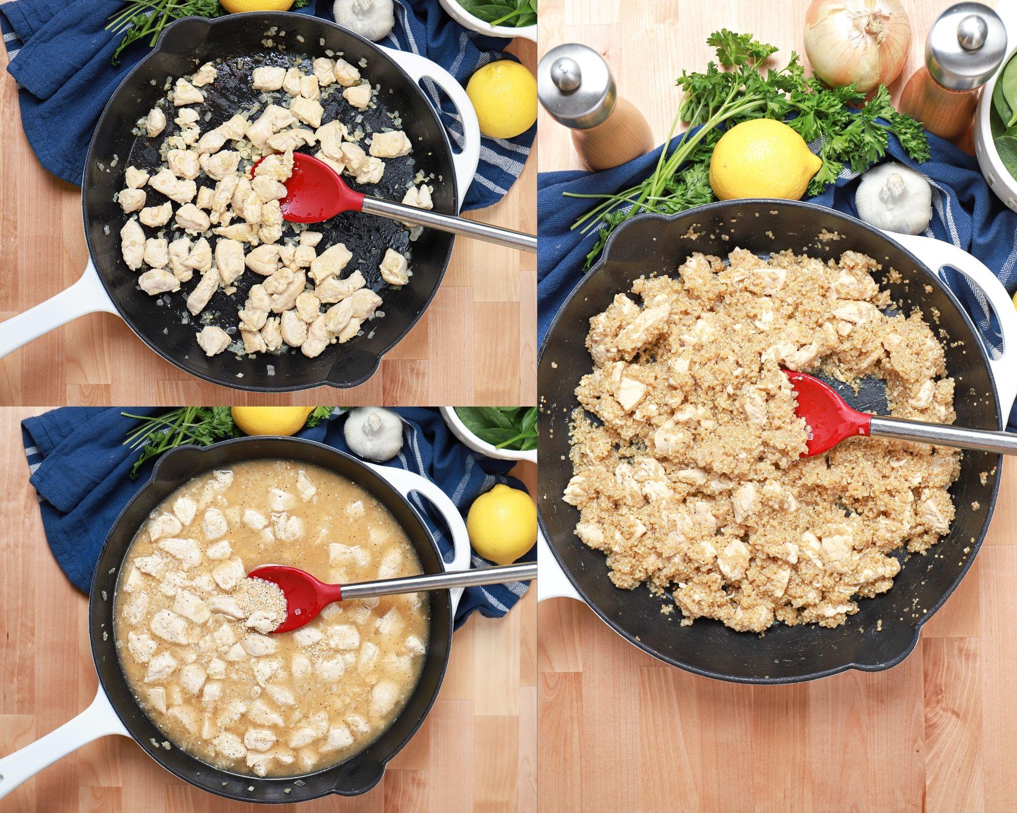 steps to cooking lemon feta chicken quinoa skillet